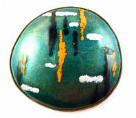Large Statement Enamelled Abstract Design Austrian Craft Brooch.